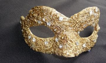 Baroque style filigree gold masquerade mask